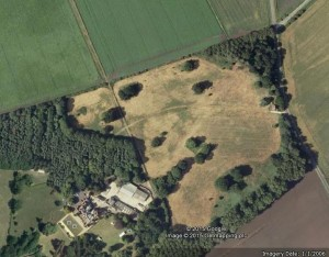 From the 2005 Google Map, the line of the Holme Lode can be seen running to the North Eastern corner of the Park joining with the Denton dike in the trees, on the Yaxley Road opposite the road to Holme Fen Posts.