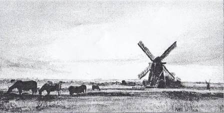 Hawkins Mill, erected in 18th century, on Holme Fen with Whittlesea Mere in the background.